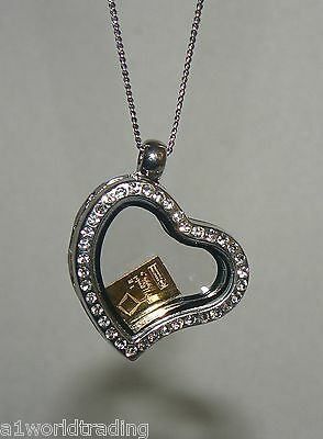 Floating Glass Heart Charm Locket Necklace + Chain + 1 Gram Valcamb Gold Bar