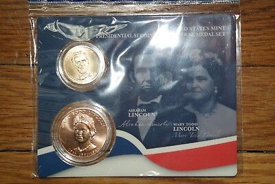 United States Mint Presidential $1 Coin & First Spouse Medal Set - Lincoln