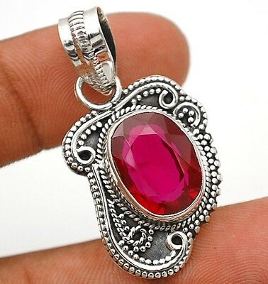 10CT Rubellite Tourmaline 925 Solid Sterling Silver Pendant Jewelry