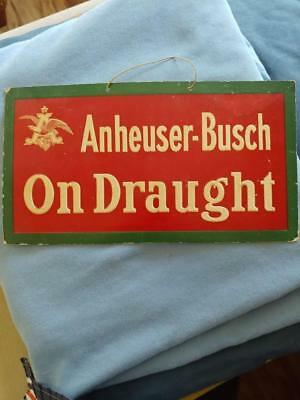 Early Original Anheuser-Busch 'on Draught' Embossed Cardboard Sign W/eagle-6X11!
