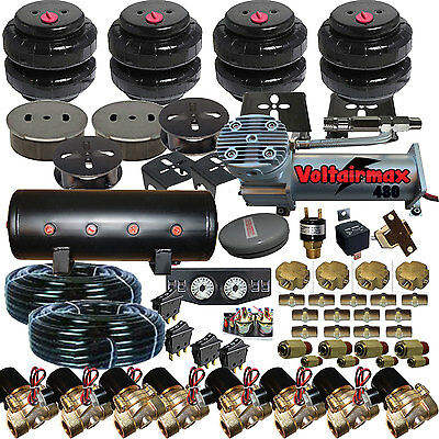 CHEV Air Suspension Kit,Bags,Valves,Tank,Pswitch,airline,Compress,Gauge Crosses