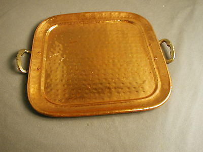"""VINTAGE COPPER HAMMERED SERVING TRAY WITH BRASS HANDLES - 10 3/4"""" W - jr"""