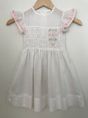 Vintage Smocked Dress Flutter Sleeves Ruffle Lace 4t 5 Embroidered Sheer Frilly
