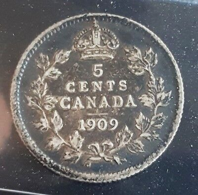 1909 Canada 5 Cents Silver Nickel ***ICCS Graded EF-40*** Pointed Leaves Variety