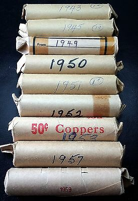 Lot Of 9 Rolls Of Canada Pennies 1943 1945 1949 1950 1951 1952 1953 1957 1959