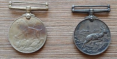 2 British WW2 War and Africa Service Medals BOTH NAMED to F267028 L. Rautenbach