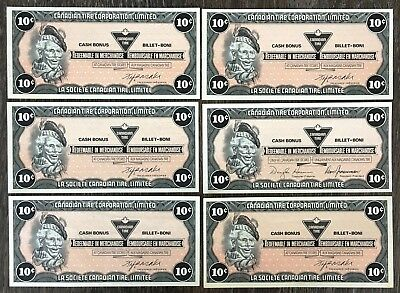 Lot of 6x 1985 Canadian Tire 10 Cents Notes ***Crisp Uncirculated*** CTC-S7-BY