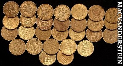 Great Britain: Group Of 28-Three Pence Coins- No Reserve !! #b8