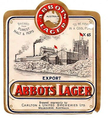 1930s CARLTON & UNITED BREWERIES, MELBOURNE, AUSTRALIA ABBOTS LAGER BEER LABEL 2