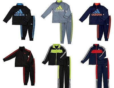 NEW Adidas Boys's 2-Pc Jacket Pants Set Outfit 2/3/4/5/6/7 Tracksuit Black/Blue