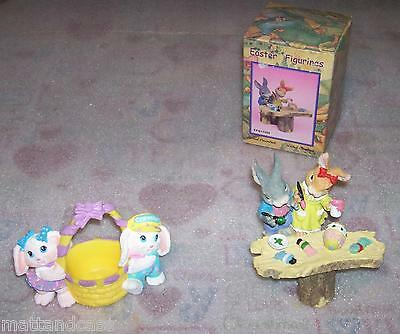 Lot of 2-Crayola 1991 2 Bunnies With Basket Easter Figurine & 2-Piece Figurines
