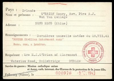 China 1943 Irish POW in BORNEO POW Japan Camp Cover Red Cross 89235