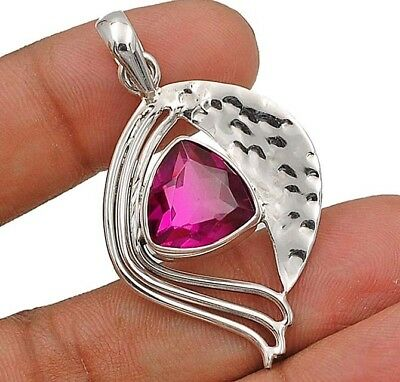 """2CT Rubellite Tourmaline 925 Solid Sterling Silver Pendant Jewelry 1 7/8"""" Long"""