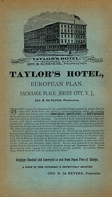 1892 Taylor's Hotel, Exchange Place, Jersey City, New Jersey Color Advertisement