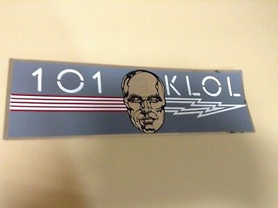101 KLOL STICKER, SILVER METALLIC METAL HEAD & LIGHTNING BOLT, 1980's era