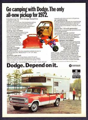"1972 Dodge Sweptline Camper Pickup Truck photo ""Depend On It"" vintage print ad"