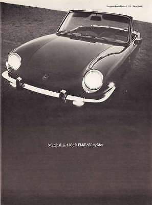 "1968 Fiat 850 Spider Convertible photo ""Match This Price"" vintage promo print ad"