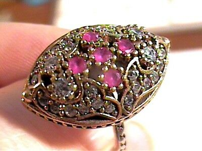 Vintage Antique Silver Ring 8 Medieval Sapphire Sterling 925 Cocktail
