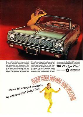 "1966 Dodge Dart Convertible photo ""Stamp Out Cramped Compacts"" promo print ad"