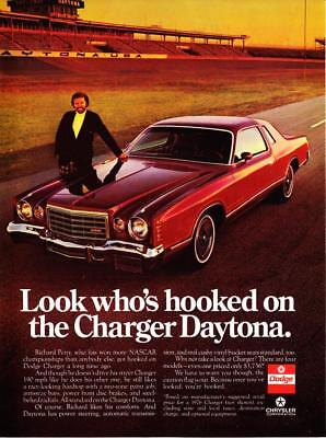 "1976 NASCAR Richard Petty photo Dodge Charger Daytona ""Look Who's Hooked"" Ad"