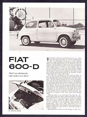 1962 Fiat 600D 600-D Sedan Road Test & Technical Data Article