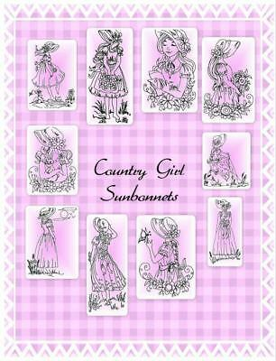 Country Girl Sunbonnets 10 Machine Embroidery Designs Cd 3 Sizes Included