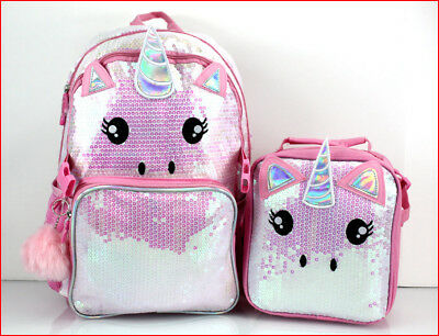 """Pink Glittery Sequins UNICORN Large 17"""" BACKPACK + LUNCH BOX Bag Sparkly 🌟NEW🌟"""