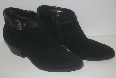 Aquatalia Women's Shoes Ankle Boots Black Suede Buckle Size 6.5 FREE SHIPPING!