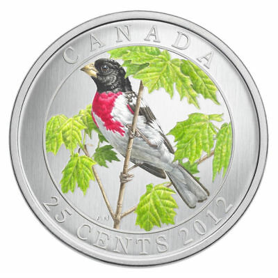2012 Canada 25 cent Coloured Coin - Rose Breasted Grosbeak