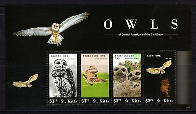 St. Kitts 2015 Owls Sheetlet 4 MNH