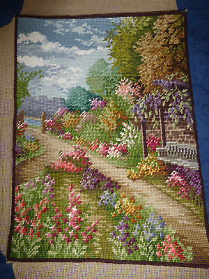vintage embroidery of cottage garden, 43CM X 32CM + selvage