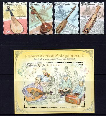 Malaysia 2018 Traditional Musical Instruments Set 4 + M/S MNH