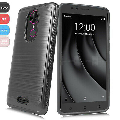 For T-Mobile REVVL Plus Brushed Armor Hard Phone Case Cover+Black Tempered Glass