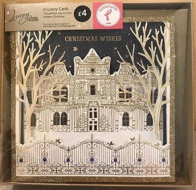 36 x LUXURY CHRISTMAS CARDS WISHES GOLD GLITTER 3D JOBLOT BOXED GREETING X243