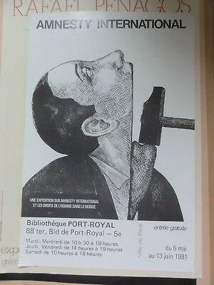 ROLAND TOPOR   Amnesty international Affiche politique de 1981.