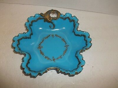 """Vintage Blue Milk Glass Gold Scroll Swirl Handle Candy Dish 9"""" Antique Bowl 192"""