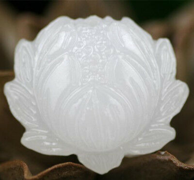 Natural Traditional White Jade Lotus Flower Pendant Necklace Jewellery Amulet