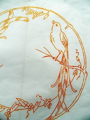 Bird of Paradise ~ Vintage Linen Embroidery Iron-on Transfer Sewing Pattern 77