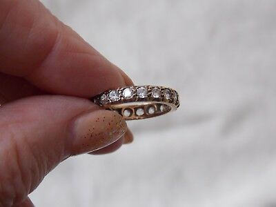Beautiful Vintage Yellow Metal (Gold) Full Eternity Stone Set Ring Size L/m