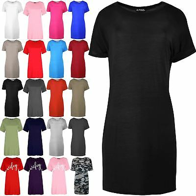 Ladies Womens Baggy Oversize Turn up Sleeve Elegance Plain Shirts Mini Dress Top