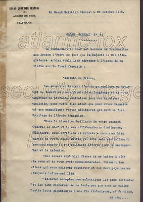 WWI 1915 UNIQUE, KING GV ORDER /SPEECH to THE FRENCH ARMY signed General Joffre