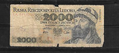 Poland #147B 1979 2000 Zlotych Ag Circ Old Banknote Paper Money Note
