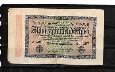 GERMANY #85b 1923 20000 MARK GOOD USED OLD VINTAGE BANKNOTE PAPER MONEY CURRENCY