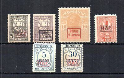 Wwi Germany Invades & Occupies Romania. Selection Of 6 Different. Mnh, Og.