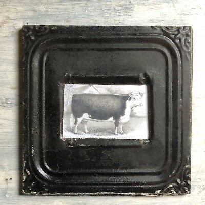 """1890's Antique Ceiling Tin Picture Frame 4"""" x 6""""  Reclaimed Black 384-18"""
