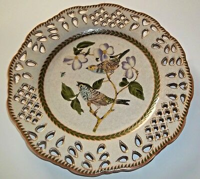 Chinese Plate Flora & Fauna Reticulated Crackle Finish & Gold Trim Hand Painted