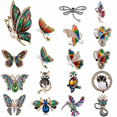 Wedding Bridal Crystal Butterfly Owl Cat Animal Brooch Pin Women Jewelry Party