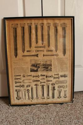 Scarce Old WM H. Haskell & Co. Broadside ~ Fasteners Pawtucket, RI Framed Glass
