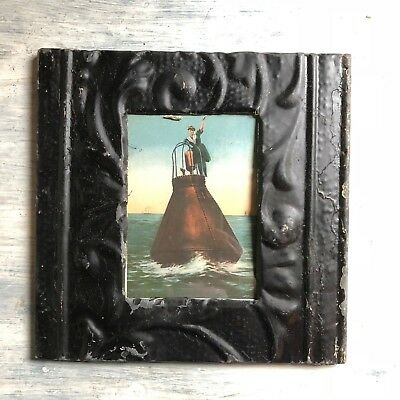 """1890's Antique Ceiling Tin Picture Frame 5"""" x 7"""" Black Metal Reclaimed 388-18"""