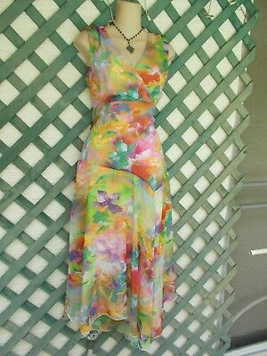 Madison Leigh Abstract Floral Hankie Hem Dress 18 Cruise Church Wedding Party
